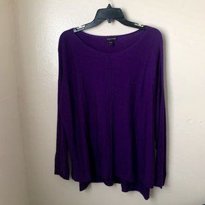 Eileen Fisher Thin Knit Sweater Purple Cotton Silk